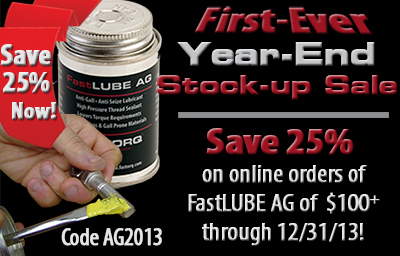 Save 25% on FastLUBE AG Orders Today!